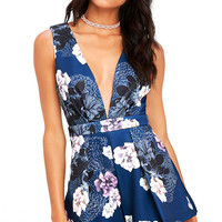 Peonies Please Navy Blue Floral Print Romper
