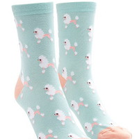 Poodle Graphic Crew Socks