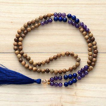 108 Beads Necklace 8MM Wood Natural Stone Long Tassel Mala Necklace Women Lariat Yoga Necklace Meditation Necklace Dropship