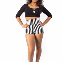 Sexy High Waisted Zipper Front Striped Mini Shorts