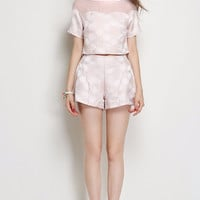 Light Pink Embellished Sleeved Mesh Collar Silk Blouse and Short
