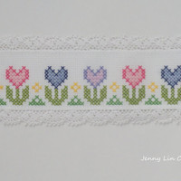 Heart Flower Embroidered Cross Stitch Bookmark