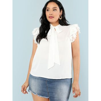 Womens Office Tie Neck Layered Ruffle Trim Top - Plus Size