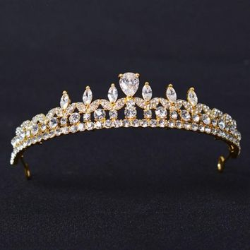 Stunning Crystal Rhinestone Cubic Zircon Wedding Tiara CZ Bridal Queen Princess Pageant Prom Crown Bridesmaid Party Head Jewelry
