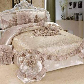 Tache 6 Piece Solid Crème Sweet Victorian Fancy Floral Comforter Set
