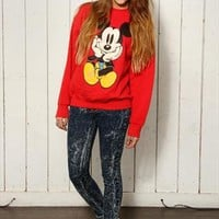 Vintage 80's Disney Red Mickey Mouse Sweater from Onceuponatime