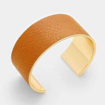 Faux Leather Banded Cuff Bracelet