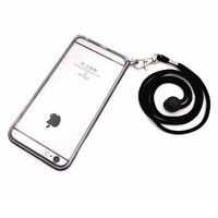 eBun [Hands Free System] 4.7 inch iPhone 6/6s Lanyard Case - No More Misplace Your Phone - Adjustable Detachable Strap - Hybrid Dual Layer Case with Light Reinforced Alumium Frame - Space Gray