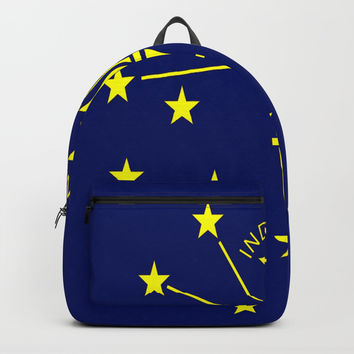 flag indiana,midwest,america,usa,carmel, Hoosier,Indianapolis,Fort Wayne,Evansville,South Bend Backpacks by oldking