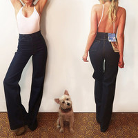 "Unworn Vintage 70s GWG Bellbottoms Dead Stock 1970s Levi's Size 25 - 26 Rare Tall Bell Bottoms || Ultra High Waisted Jeans 36"" Length"