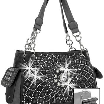 * Concealed Carry Rhinestone Design Layered Handbag In Black
