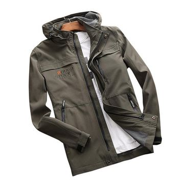 Plus Size Outdoor Casual Sports Water Repellent Multi Pockets Jacket Coats for Men
