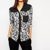Black Totem Dots Print Long-Sleeve Collared Blouse