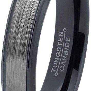 Bazyli Black Grey Tungsten Wedding Band Brushed Polished Comfort Fit and Step Edges - 6mm