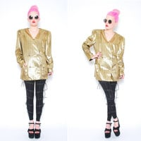 70s 80s Metallic Gold Foil Blazer Jacket  1970s by POMPOMCLOTHING