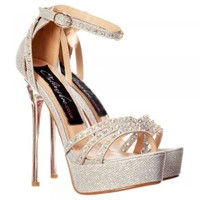 Onlineshoe Sparkly Glitter Strappy Stiletto Metallic Heel - Cross Over Crystal Encrusted - Gold, Silver - Onlineshoe from Onlineshoe UK