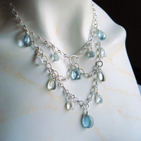 Aquamarine Necklace, Renaissance Style, Sterling Silver Etched Oxidized Chain, Green Amethyst, OOAK Gemstone Necklace