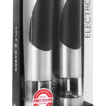 COLE & MASON Richmond Electric Salt and Pepper Grinder Set - Stainless Steel Electronic Mills Include Gift Box and Gourmet Precision Mechanisms