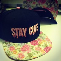 STAY CUTE PINK FLORAL SNAPBACK