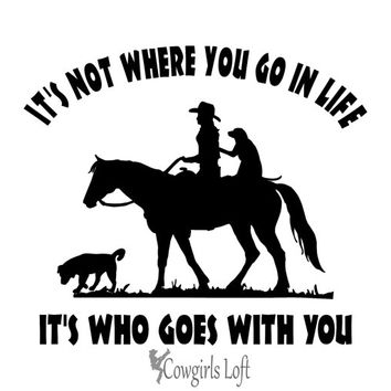 "Cowgirl Riding Horse with Dogs Decal 10"" Saying Vehicle truck trailer Mirror Window Vinyl Trail Rider Animal Image"