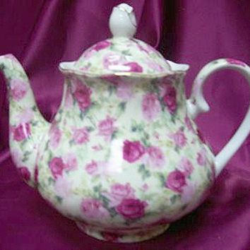 Double Pink Rose on White Chintz 33 oz. Porcelain Teapot Satin Lined Gift Box