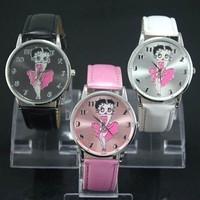 Wrist Watch for Women Betty Boop Pattern White Stylish Watch Leather Band (Beige) = 1931668228