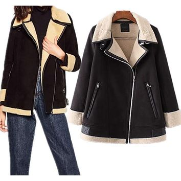 Faux shearling coats for women winter warm suede leather coat aviator jacket women coat CT003