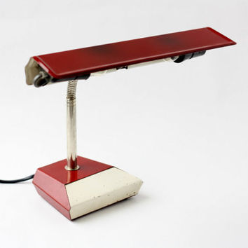 Vintage Industrial Gooseneck Desk Lamp // Made in Romania // Airplane Wing Adjustable Task Table Lamp Lighting // Merchant Workshop Bauhaus
