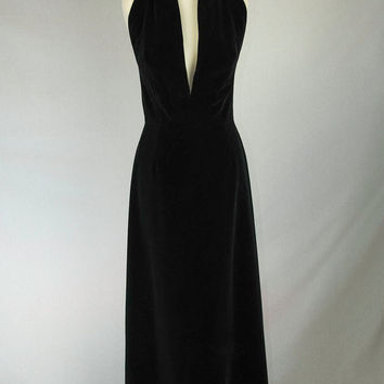 Vintage Black Velvet Dress Bombshell Plunging Neckline! Seriously Sexy