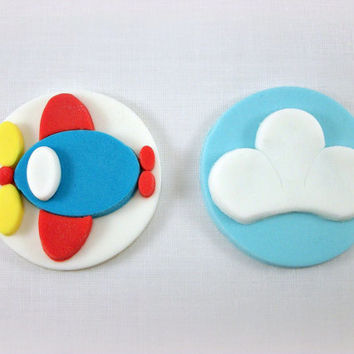 12 Airplane Party Fondant Cupcake Toppers, Airplane Birthday Cake Cookie Fondant Toppers, Airplane Baby Shower Decoration, Cloud Topper