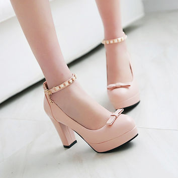 PU Round Toe Buckle High Block Heel Ankle Strap Pumps