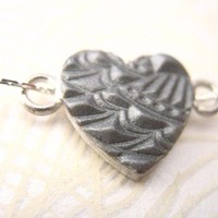 Silver jewelry Heart Valentines necklace , angel wing design locket , chain polymer clay handmade handstamped embossed raised design pendant