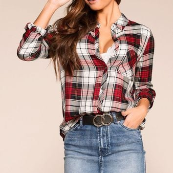 Tomboy Burgundy Plaid Top
