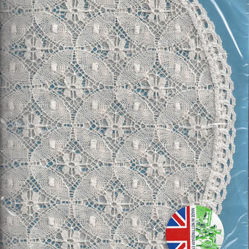Vintage Nottingham, England, Large Cluny Lace Oval Doily in Ivory, Duchess by Wetherall, 21 x 14 Inches