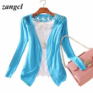 Women Lace Sweet candy Color Crochet hollow out Knitwear Blouse