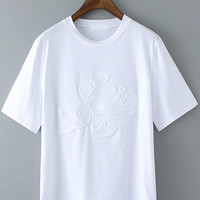 All White Short Sleeve Charctoon Character Printed Shirt