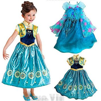 Supper Design Flower Custom Anna Elsa Girls Princess Children Summer Kids Dress Cloth Party Vestidos Infants Dress Baby Dresses