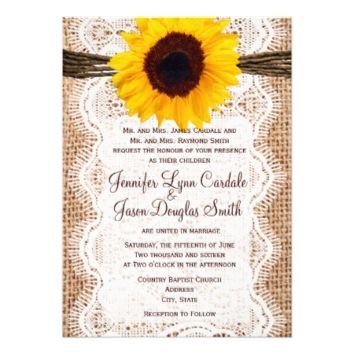 Rustic Burlap Lace Twine Sunflower Wedding Invites 5
