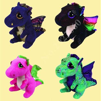 TY Beanie Boos Saffire Dragon Plush Regular Stuffed Animal Collectible Soft Doll Toy