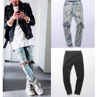 Men's Distressed Skinny Ripped  Hip Hop Hole On Knee Swag Streetwear Destroy Denim Jeans