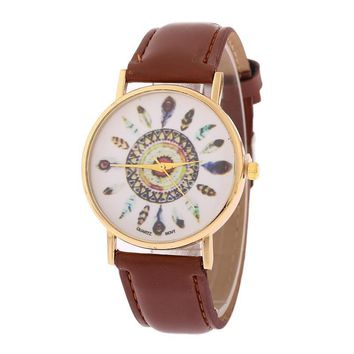 Exotic Ethnic Feather Leather Watch