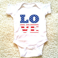 4th of July American flag Love graphic for babies, newborn, 6 months, 12 months, 18 months funny graphic baby Onesuit