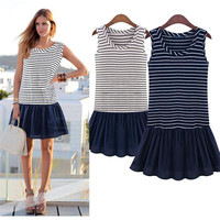2015 Women Girls Summer Casual Dress Stripe Knitting Lace Patch-work Plus Size Dress for Girls