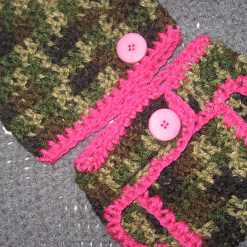 Little Hunting Girl Camo Baby Diaper Cover and Baby Hat Set Baby Shower