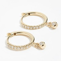 14k Dangling Diamond Huggie Hoops