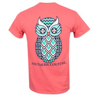 Southern Couture Geo Owl T-Shirt - Coral