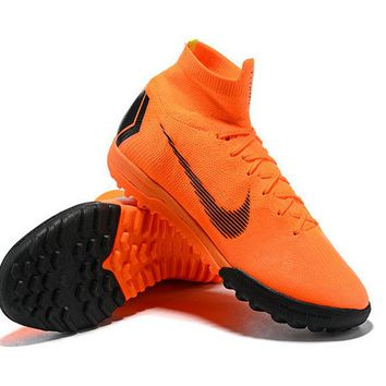 Mens Nike Superfly X 6 Elite TF Sock Football Trainers Total Orange Black
