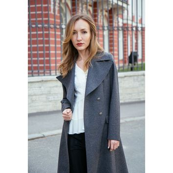 Gray Embossed Wool Military Coat