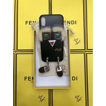 FENDI rivet shoes little monster iPhoneX couple leather phone case F-OF-SJK Black