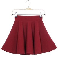Sexy High Waist Short Jersey Plain Flared Pleated A-Line Skater Mini Skirt(Burgundy)